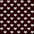Black, Red and White Hearts and Stripes Textured Fabric Backgrou — Stock Photo #35420607