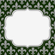 Stock Photo: Green and Gray Fleur De Lis Textured Fabric Background