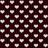 Black, Red and White Hearts and Stripes Textured Fabric Backgrou — Stock Photo