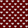 White Hearts and Red Stripes Textured Fabric Background — Photo