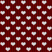 White Hearts and Red Stripes Textured Fabric Background — Stock Photo