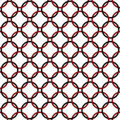 Black, Red and White Interlaced Circles Textured Fabric Backgrou — Stock Photo