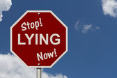 Stop Lying Now Sign — Stock Photo