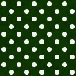 White Polka Dots on Green Textured Fabric Background — Stock Photo