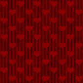 Red Hearts and Stripes Fabric Background — Stock Photo