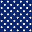 White Polka Dots on Blue Textured Fabric Background — ストック写真