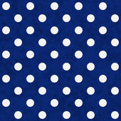 White Polka Dots on Blue Textured Fabric Background — 图库照片