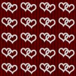 White Interwoven Hearts and Red Stripes Textured Fabric Backgrou — Stock Photo #36663501