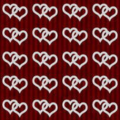 White Interwoven Hearts and Red Stripes Textured Fabric Backgrou — Stock Photo