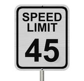 Speed Limit 45 Sign — Stock Photo