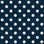 White Polka Dots on Navy Blue Textured Fabric Background — Stock Photo