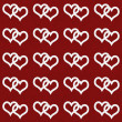 White Interwoven Hearts and Red Thin Stripes Horizontal Textured — Stock Photo #37550405