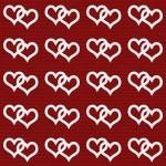 White Interwoven Hearts and Red Thin Stripes Horizontal Textured — Stock Photo