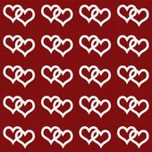 White Interwoven Hearts and Red Thin Stripes Horizontal Textured — Stock Photo