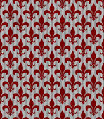 Red and Gray Fleur De Lis Textured Fabric Background — Stock Photo