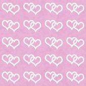 White Interwoven Hearts and Pink Thin Stripes Horizontal Texture — Stok fotoğraf