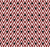 Red and White Horizontal Chevron Striped with Polka Dots Backgro — Stock Photo