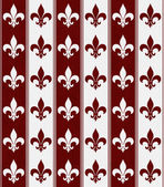 White and Red Fleur De Lis Textured Fabric Background — Stock Photo