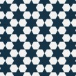 Dark Blue and White Hexagon Patterned Textured Fabric Background — Stock Photo #38337949