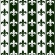 Stock Photo: Hunter Green and White Fleur De Lis Textured Fabric Background