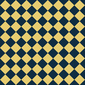 Navy Blue and Yellow Diagonal Checkers on Textured Fabric Backgr — Stock Photo