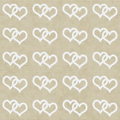 White Interwoven Hearts and Beige Thin Stripes Horizontal Textur — Foto Stock