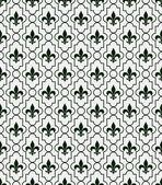 White and Dark Green Fleur-De-Lis Pattern Textured Fabric Backgr — Stock Photo