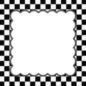 Black and White Checkered Frame with Embroidery Background — Stock Photo
