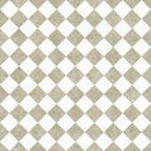 Pale Beige and White Diagonal Checkers on Textured Fabric Backgr — Stock Photo