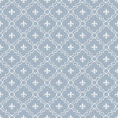 White and Pale Blue Fleur-De-Lis Pattern Textured Fabric Backgro — Stock Photo