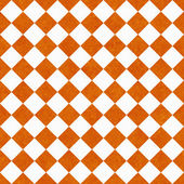 Orange and White Diagonal Checkers on Textured Fabric Background — Stock Photo