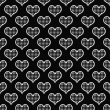 Stock Photo: Black and White Polka Dot Hearts Pattern Repeat Background