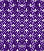 White and Purple Fleur-De-Lis Pattern Textured Fabric Background — Stock Photo