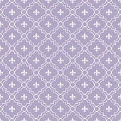White and Pale Purple Fleur-De-Lis Pattern Textured Fabric Backg — Stock Photo