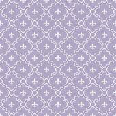 White and Pale Purple Fleur-De-Lis Pattern Textured Fabric Backg — Stock Photo