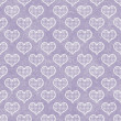 Purple and White Polka Dot Hearts Pattern Repeat Background — Stock Photo