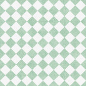 Pale Green and White Diagonal Checkers on Textured Fabric Backgr — Stock Photo