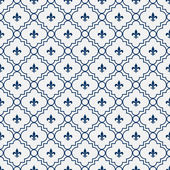 White and Blue Fleur-De-Lis Pattern Textured Fabric Background — Stock Photo