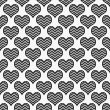 Black and White Chevron Hearts Pattern Repeat Background — Stock Photo