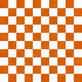Bright Orange and White Checkers on Textured Fabric Background — Photo