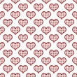 Red and White Polka Dot Hearts Pattern Repeat Background — Stock Photo
