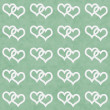 Stock Photo: White Interwoven Hearts and Green Thin Stripes Horizontal Textur