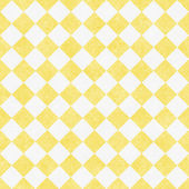 Pale Yellow and White Diagonal Checkers on Textured Fabric Backg — Stok fotoğraf