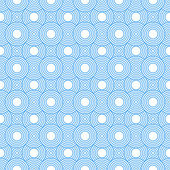 Blue and White Circles Tiles Pattern Repeat Background — Stockfoto