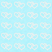 White Interwoven Hearts and Teal Thin Stripes Horizontal Texture — Stock Photo