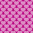 Stock Photo: Pink and White Chevron Hearts Pattern Repeat Background