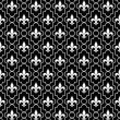 Stock Photo: White and Black Fleur-De-Lis Pattern Textured Fabric Background
