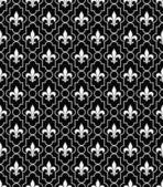 White and Black Fleur-De-Lis Pattern Textured Fabric Background — Stock Photo