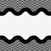 Black and White Chevron Frame with Wave Ribbon Background — Stock Photo