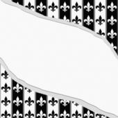 Black and White Fleur De Lis Pattern Torn Textured Fabric Backgr — Stock Photo